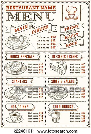 clipart of restaurant menu template k22461611 search clip art