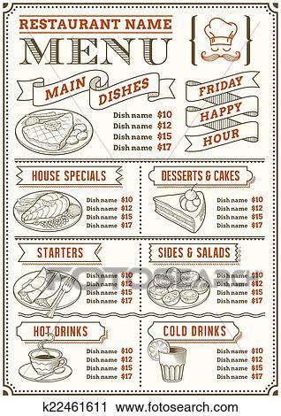 Restaurant Menu Template Clipart K22461611