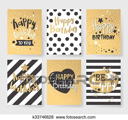 Clip art of set of beautiful birthday invitation cards decorated beautiful birthday invitation cards design gold and black colors birthday vector greeting card decoration gold black strips lettering filmwisefo