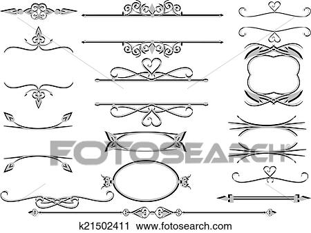Clipart of Victorian ornate floral labels , frames or rulelines ...