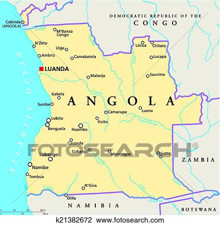 Clipart of Angola Political Map k21382672   Search Clip Art