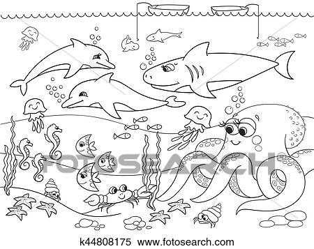 Clipart fondo marino con marino animals vettore for Fondali marini da colorare