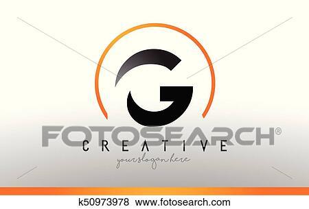 Cool Letter I Logo.G Letter Logo Design With Black Orange Color Cool Modern Icon Template Clip Art