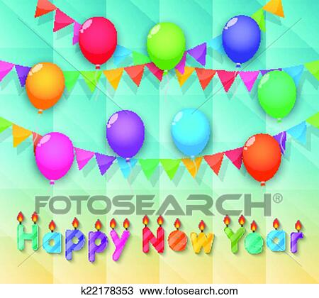 clipart happy new year candles balloon and party flags sky background fotosearch search