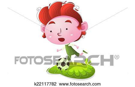 Kids Playing Football Drawing K22117782 Fotosearch