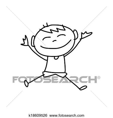 Mano Disegno Cartone Animato Felicità Clip Art K18609526