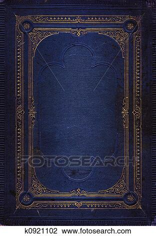 Stock Photo Of Old Blue Leather Texture With Gold Decorative Frame
