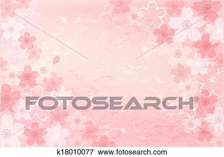 Clip Art Of Shabby Chic Cherry Blossom Background K18010077
