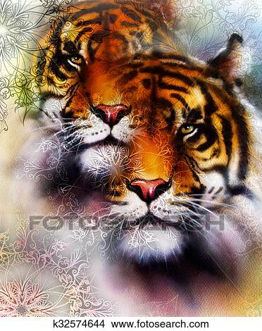 Drawings Of Tiger Collage On Color Abstract Background And Mandala
