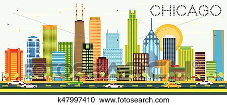 black and white chicago city vector skyline clipart. Commercial use GIF,  JPG, PNG, EPS, SVG, AI, PDF clipart # 408544 | Graphics Factory