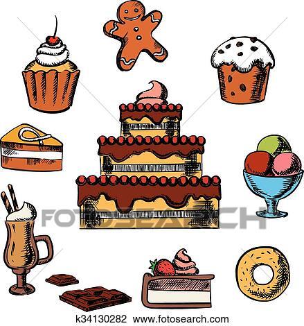 Clipart Dessert Con Torta E Pasticceria K34130282 Cerca
