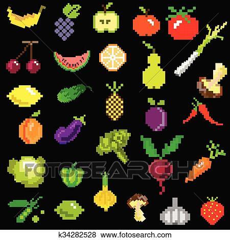 Pixel Art Fruit Et Légumes Sur Noir Clipart