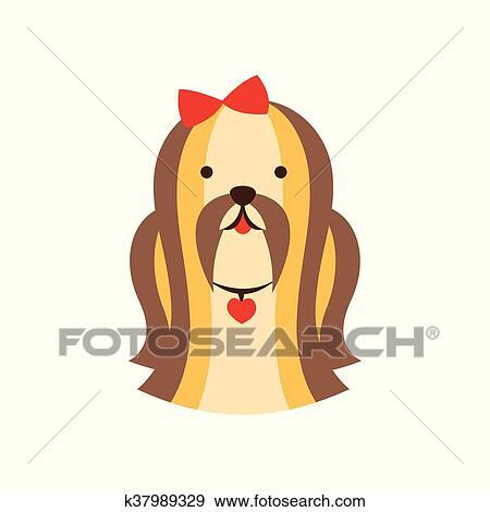 Shih tzu cane razza primitivo cartone animato illustrazione