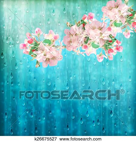 Raindrops and Flowers Clip Art