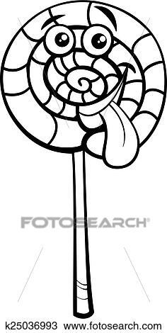 Sucette bonbon dessin anim coloration page clipart k25036993 fotosearch - Bonbons dessin ...