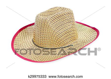Stock Photo of Brown straw hat isolated on white background ... 7bd7ede9ed55