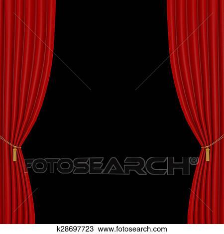 cortinas rojas en un fondo negro - Cortinas Rojas