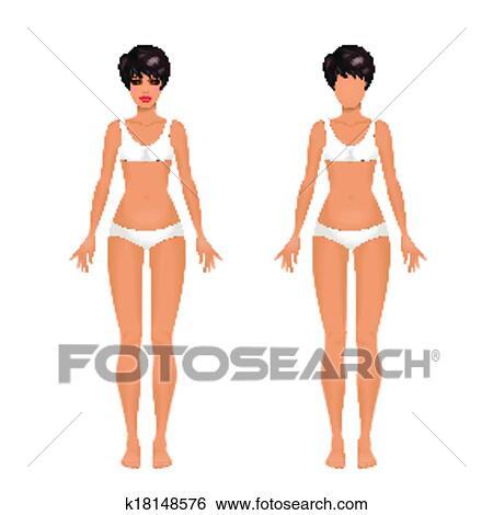 Female Body Template Clip Art K18148576 Fotosearch
