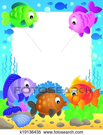 Clipart of Fish theme frame 1 k19136435 - Search Clip Art ...