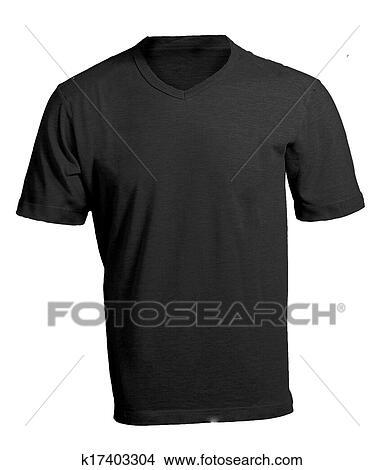 Stock Photo Of Mens Blank Black V Neck Shirt Template K17403304