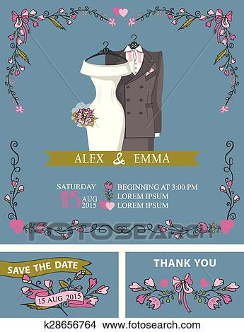 Clipart of Wedding invitation with wedding dress,floral decor ...