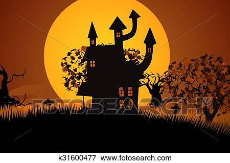 Halloween Spooky House.Zombie Walking At Spooky House Halloween Scary Funny Stock Illustration