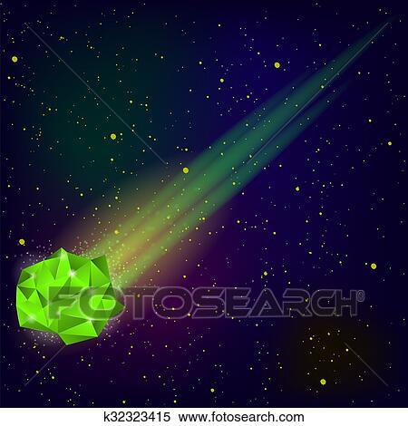 緑 落ちる 流星 イラスト K32323415 Fotosearch