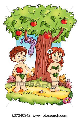 Adam And Eve Drawing K37240342 Fotosearch