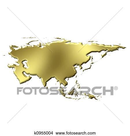 Map Of Asia 3d.Asia 3d Golden Map Stock Illustration