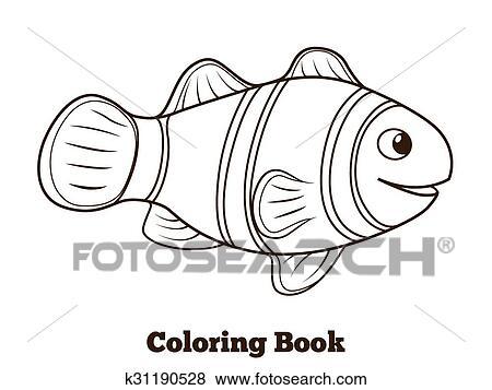 Ausmalbilder Clownfisch Fische Karikatur Vektor Clip Art