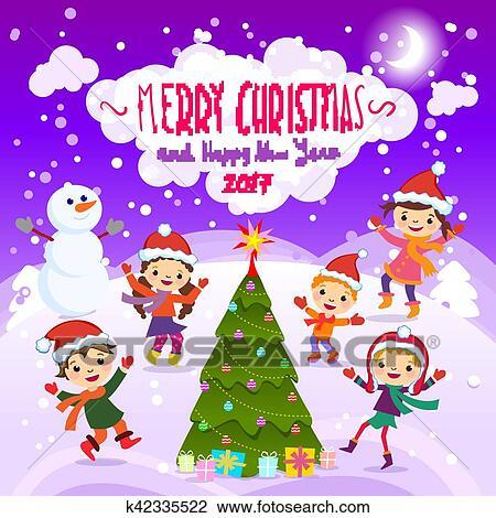 Buon Natale Per Bambini.Buon Natale E Felice Nuovo Year 2017 Inverno Fun Allegro