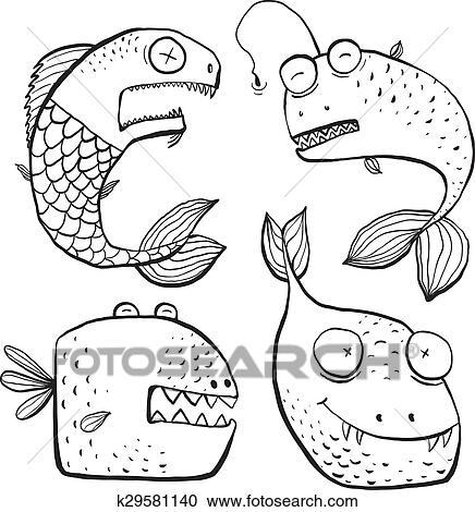 Clipart - diversión, negro y blanco, arte de línea, pez, caracteres ...