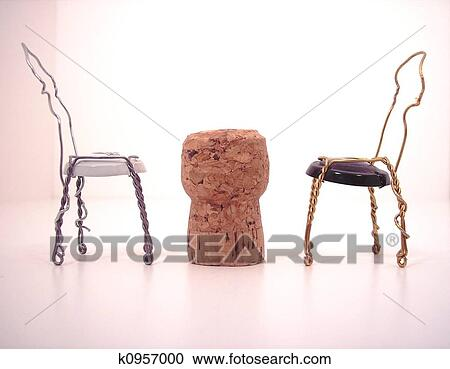 Kork Tisch Und Stuhle Stock Bild