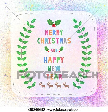 clip art merry christmas and happy new year on colorful spray paint background fotosearch