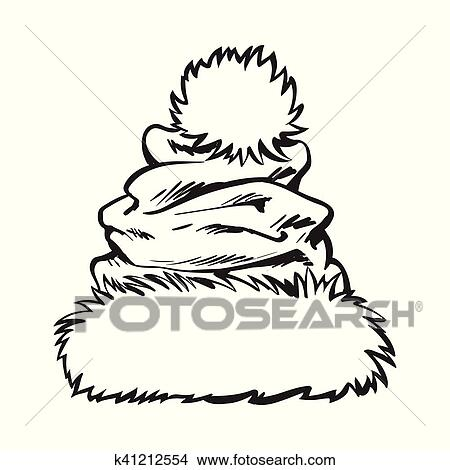7483bdf9409b2 Clipart of red Santa Claus hat isolated on white background ...