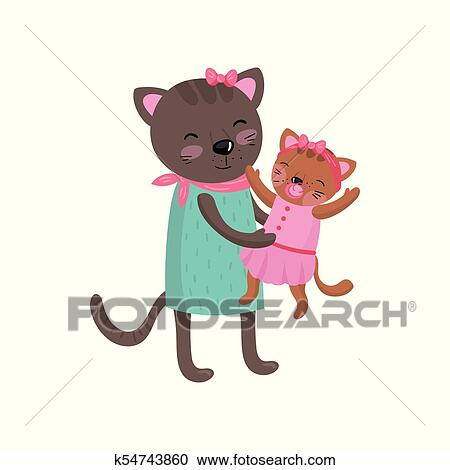 Image of: Cartoon Cat Smiling Mother Cat Holding Her Little Kitten Happy Feline Family Portrait Cute Cartoon Characters Humanized Animals Wearing Dresses Fotosearch Clipart Of Smiling Mother Cat Holding Her Little Kitten Happy