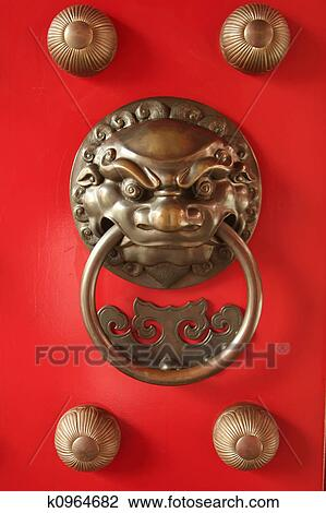 Delicieux Stock Photo   Chinese Door Guardian Handle For Protection. Fotosearch    Search Stock Photography,