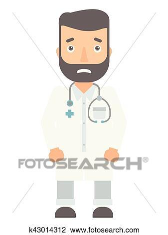 clipart envergonhado doutor em branca coat k43014312 busca