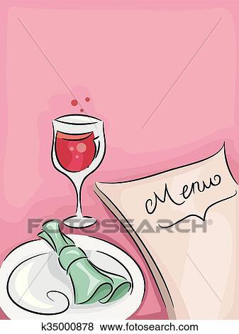 Clip Art - essen, wein, restaurant menü k35000878 - Suche Clipart ...