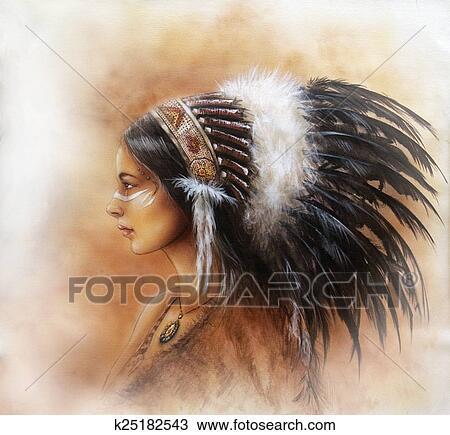 Dessin Jeune Indien Femme Porter A Grand Plume Coiffure A