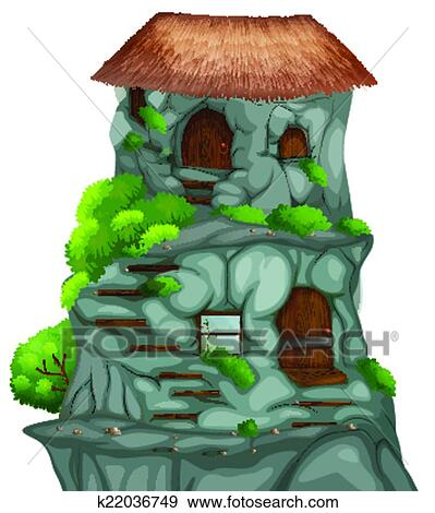 Clip Art of Cave house k22036749 - Search Clipart, Illustration ...