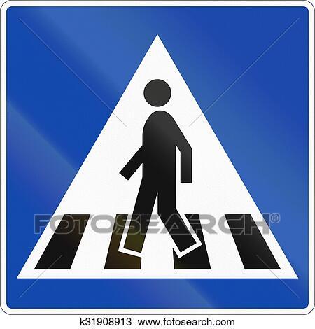 Drawing Of Norwegian Regulatory Road Sign Zebra Crossing K31908913