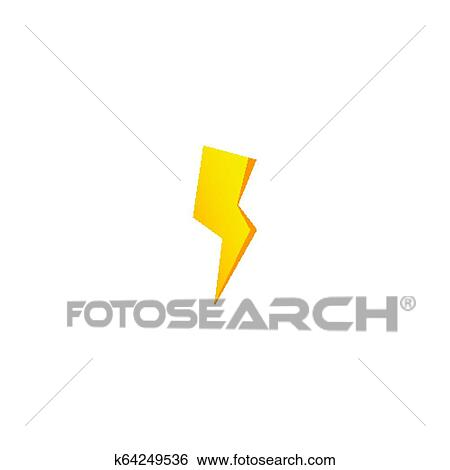 Simple Yellow Thunderbolt Icon Thunder Bolt And High Voltage Sign Clip Art K64249536 Fotosearch