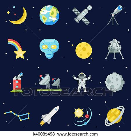 Clip Art Of Space Symbol Innovation Technology Flat Design Icons Set