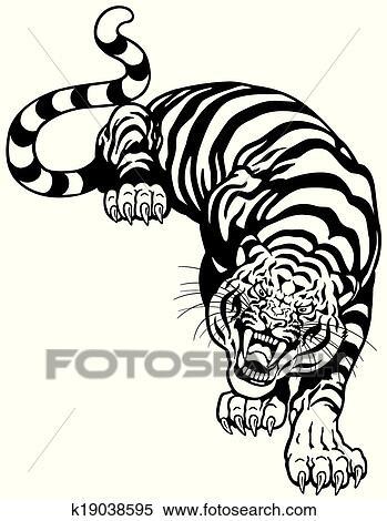 Clipart Tigre Noir Blanc K19038595 Recherchez Des Clip Arts