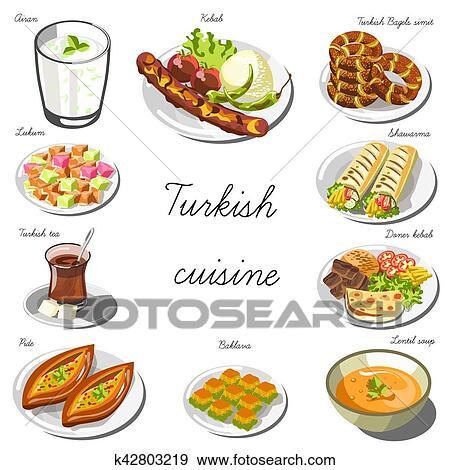Clip Art - turco, asia, cucina, set., collezione, di, cibo, piatti ...