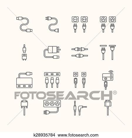 Clipart - vektor, linear, webikon, satz, -, kabel, draht, edv, und ...