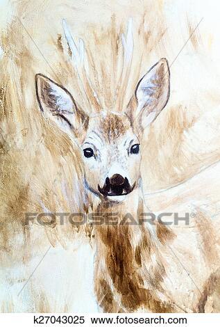 Cerf Tete Sepia Peinture Croquis Banque D Illustrations K27043025 Fotosearch