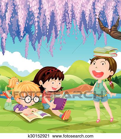 Children Reading And Writing Under The Tree Royalty Free Cliparts, Vectors,  And Stock Illustration. Image 40710840.