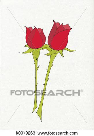 Dibujo Dos Rosas Rojas K0979263 Buscar Clip Art Ilustraciones